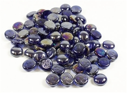 Glass Flat Marbles Blue